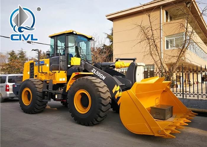 ZL50GN 5 Ton Mini Bucket Compact Wheel Loader Zl50 Zl50g Transmission Yellow Color